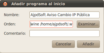AjpdSoft Configurar AjpdSoft Aviso Cambio IP Pública para que  arranque automáticamente en GNU Linux