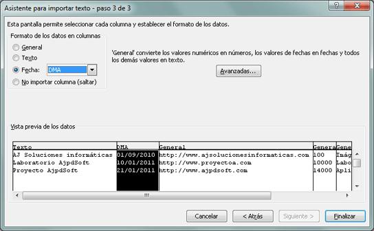 Cómo importar un fichero csv de texto plano a Microsoft Excel xls ó xlsx