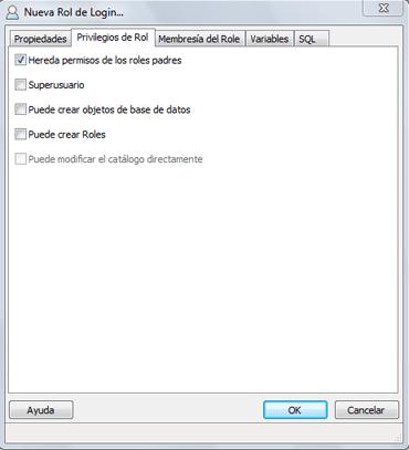 AjpdSoft Administración de PostgreSQL, creación de usuarios (roles), catálogos