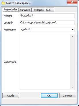 AjpdSoft Crear tablespace para guardar los datos de una base de datos en PostgreSQL