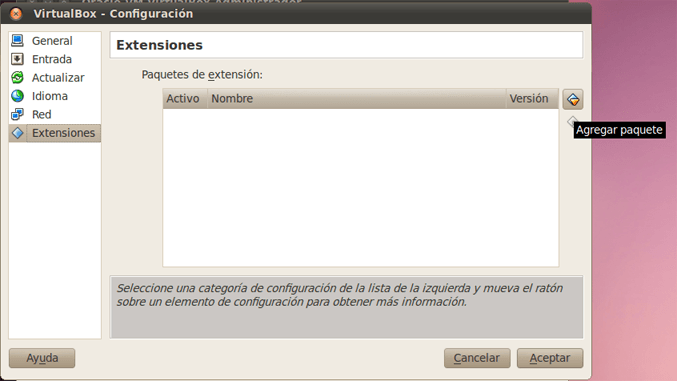 Instalar Oracle VM VirtualBox Extension Pack en Linux para VirtualBox