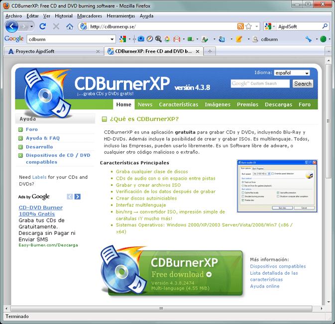 como crear una imagen iso de un dvd con cdburnerxp